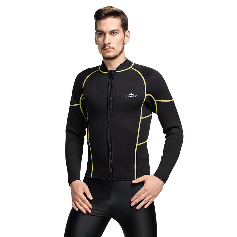 SBART 1PC 3MM Zip Up Wetsuit Neoprene Scuba Jacket For Men Diving Suit  Swimsuit Long Sleeve Surfing Sailing Clothes 2018 DCO-in Wetsuit from  Sports ... e1a525c05