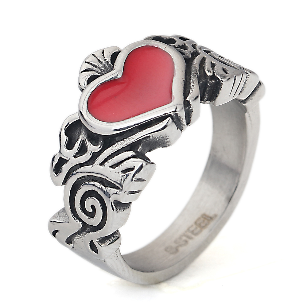 Charming Heart Red Ring Fashion Men Wedding Jewelry Antique Silver Color Stainless Steel Filled Engagement Rings Bijoux Male