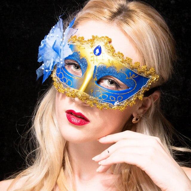 1pcs / High-grade Venice mask masquerade party decoration items wedding decoration Elegant side flower beads mask Christmas mask