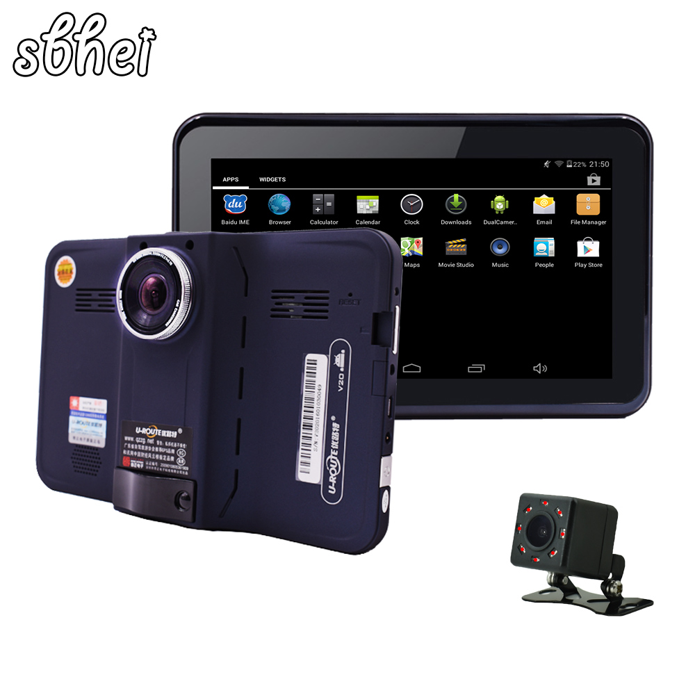 Sbhei 7 Inch GPS Navigation Android GPS DVR Camcorder 16GB Allwinner A33 Radar Detector Rear View Camera With Night Vision
