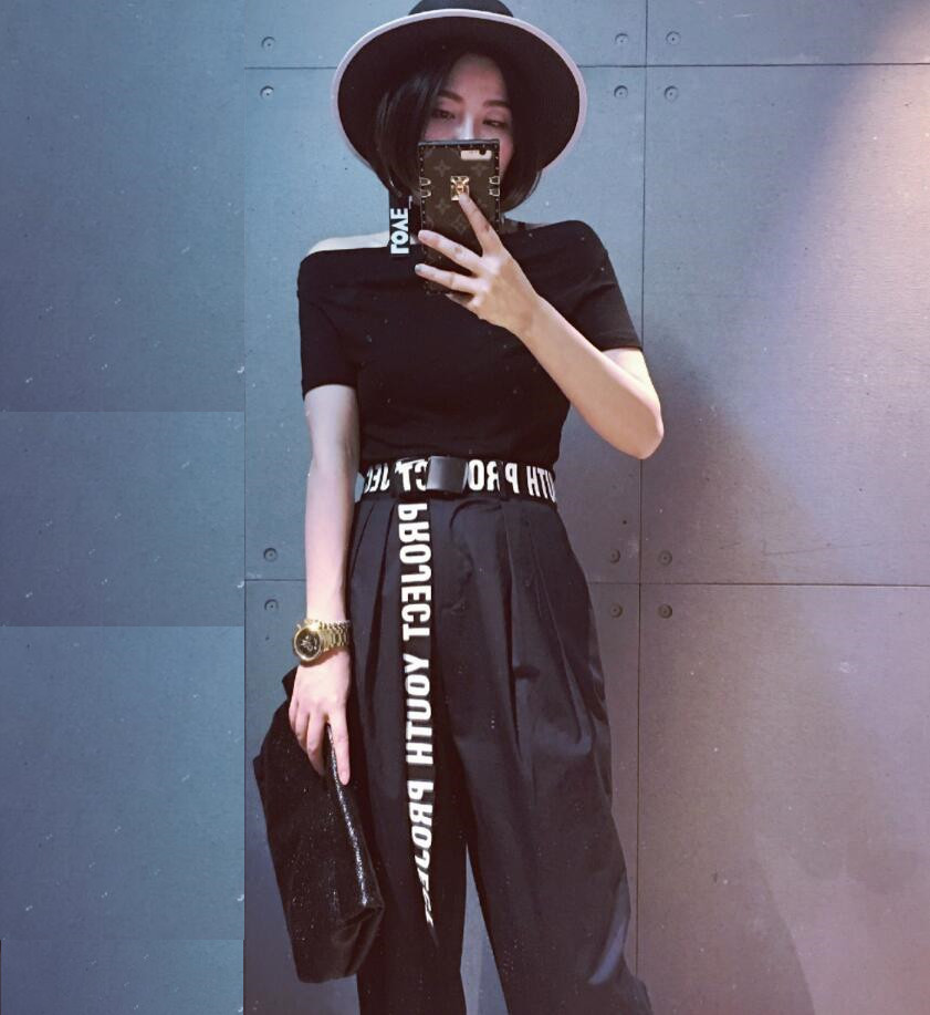 2018 new woman Gothic Harajuku Street Belt Canvas Punk Letters Printed Decoration Loop Shaped Mental Buckle Jeans Waist Belt(China)