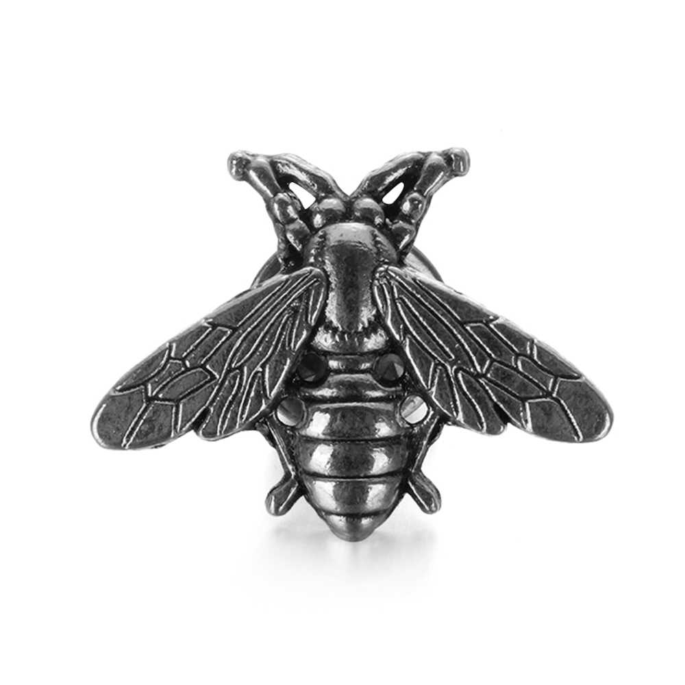 2019 1/2Pcs Vintage Lucu Lebah Bros Pin Gold & Silver Serangga Bros untuk Pria Wanita Tanduk Rusa kepala Pin Fashion Perhiasan