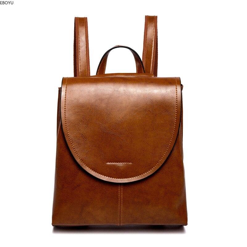EBOYU en cuir véritable femmes sac à dos en cuir filles dames sac à bandoulière sac à dos sac à dos de promenade décontracté sac de voyage #2612