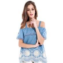 2017 New Denim Patchwork Lace Ruffles Ladies Cami Tank Off Shoulder Crochet Embroidery Wave Women Shirt Ruched Hem Slip Top