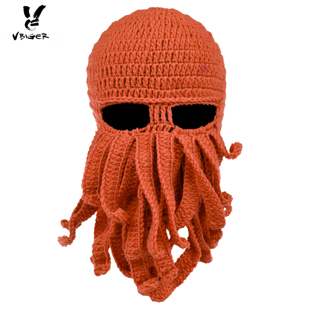 VBIGER Octopus Knit Beanies Hat Cap Winter Warm Windproof Ski Face Mask with Tentacles for Men Women unisex octopus winter warm knitted wool ski face mask knit hat squid cap beanie