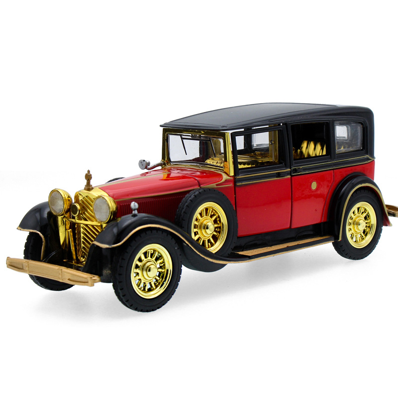 1:32 New Alloy Pull Back Children's Toy Car  Retro Classic Car With Sound And Light Antique Car Wecker Diecast Toys Random Color
