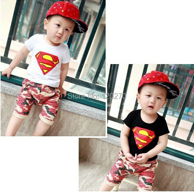 Summer Baby Boys Superman T-shirt Camouflage Shorts Pants 2 Piece Suit Infant Toddler Kids Children's Clothes - Honey Baby's store