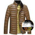 Invierno libre del envío más tamaño engrosamiento de cuero collar del soporte hacia abajo abrigo de pelo de visón prendas de vestir exteriores termal abajo chaqueta hombre gordo 8L