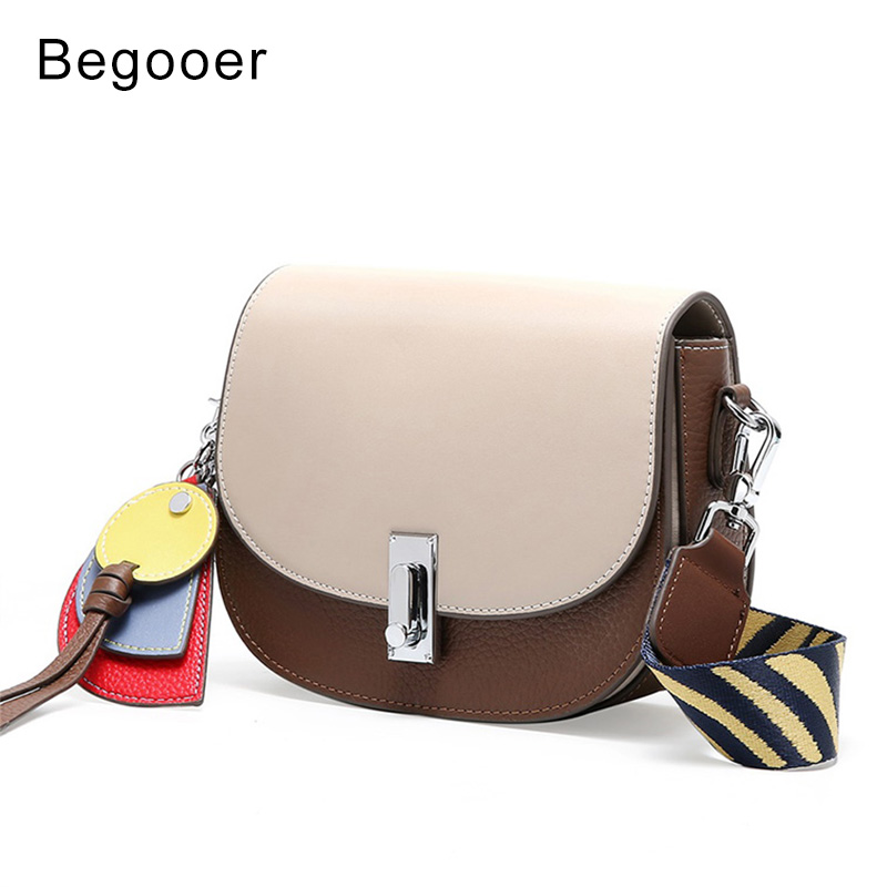 2019 New Fashion Women Saddle Bags Genuine Leather Girls Small Shoulder Bag Cross body Ladies Panelled Messenger Bag Female Bags