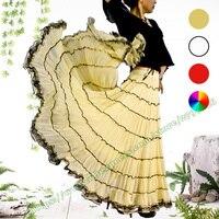 Summer Plus Big Size 6XL 5XL Bohemia Yellow Red White Chiffon Tull BOHO Gypsy Pleated Plissee Female Maxi Long Skirts Womens