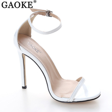 2017 Fashion Women Sandals Sexy Satin Hollow Strip Peep Toe Buckle Trap Strap Thin High Heel Shoes Wedding Shoes Black Red White