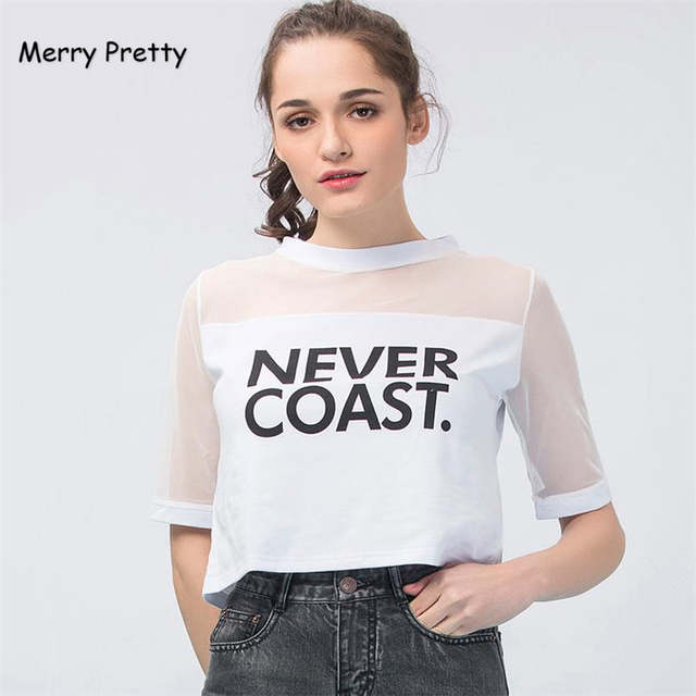 3bd590322adf1 placeholder Merry Pretty Summer Women Tshirts NEVER COAST Printed Mesh  Patchwork Punk T-shirt Vintage Hollow