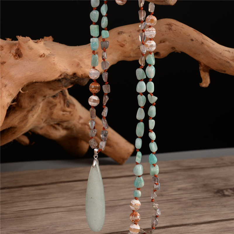 Fashion Bohemian Necklace Jewelry Natural Knotted Stone Amazonite Pendant Necklace 925 Sterling Silver Connector Dropshipping original dropshipping my sweet pet paw love necklace girl 925 sterling silver pendant necklace for women fashion jewelry gifts