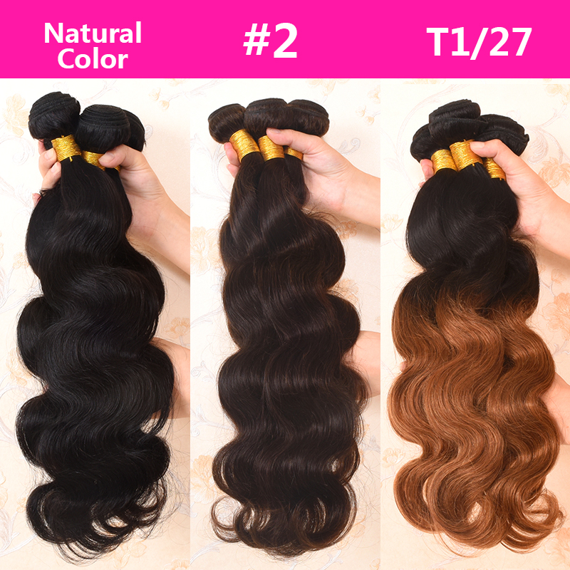 Lucky Queen Hair Produkt Brasilian Body Wave 3 Bundles Deal 100% - Mänskligt hår (svart) - Foto 2