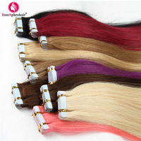 Aphro Hair 20pcs Tape In Hair Extensions Non Remy Brazilian Straight Hair Human Hair Skin Weft #1#1b#2#4#8#12#24#613#Pink#Red