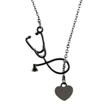 4 Colors Stethoscope Lariat necklace,Heart and Stethoscope Pendant for Doctor medical student Gift,the Doctor Nurse Jewelry(China)