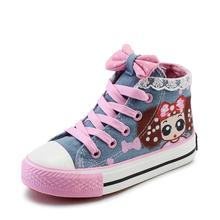 Girls Canvas casual princess lace Shoes Kids Shoes baby Girl Flat cartoon Sneakers