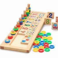 Montessori Regenbogen Ringe Domino Bausteine Vorschule Lehrmittel Frühen Lernspielzeug Zählen Stapeln Holz Mathematik Spielzeug CD1343H