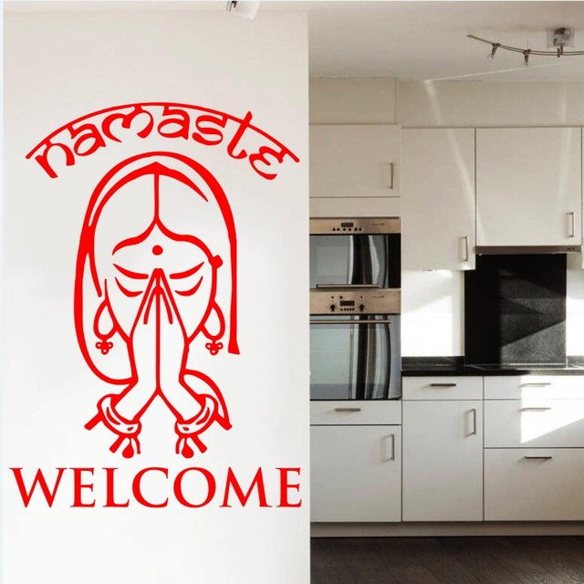 Home wallstickers vinyl decals indian yoga namaste decal sticker homedoors and windows art wall paper home