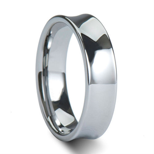 Tailor Made 6mm Polish Tungsten Ring Concave Wedding Band Size 4 - 18 (#NR14P)