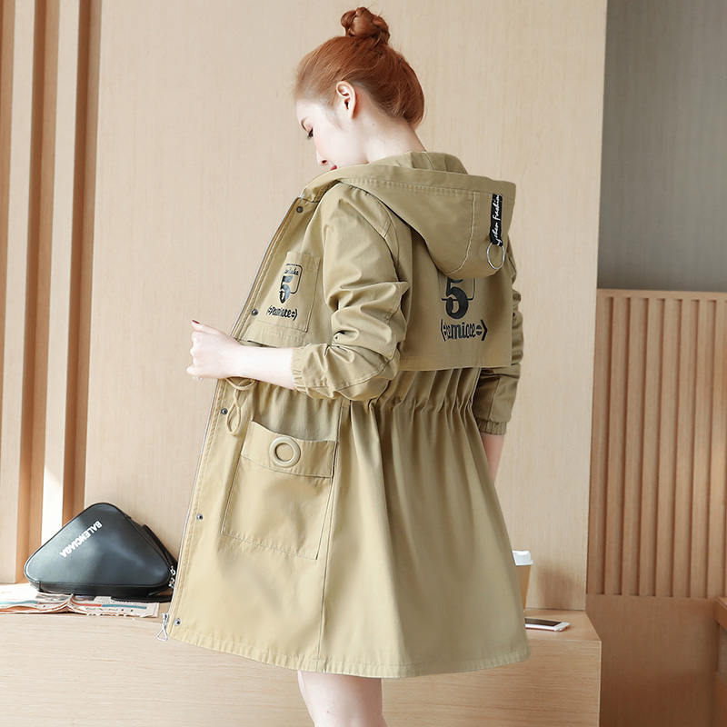 2019 Spring New Korean Slim Was Thin Windbreaker Female Hooded Coat Spring Autumn Casual Fashion Women Long   Trench   Coats A847