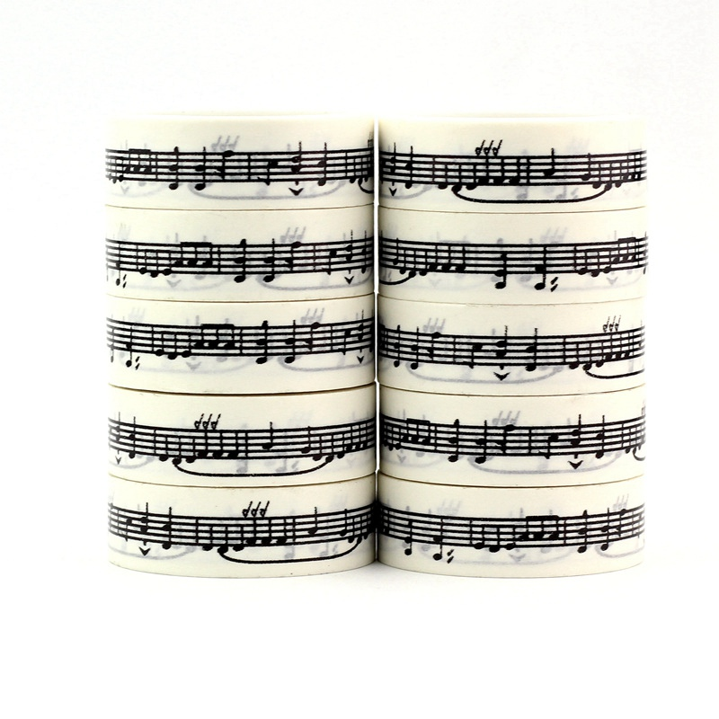 High Quality 10pcs/lot Black And White Music Note Washi Tapes DIY Decor Scrapbook Planner Adhesive Masking Tape Cute Stationery