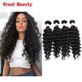 Unice Hair Peruvian Deep Wave 4 Bundles Unprocessed Virgin Peruvian Hair Natural Black Peruvian Deep Curly Human Hair Weave