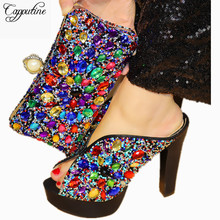 Capputine Black Color Rhinestone Shoes And Bags Set 2018 Italian High Heels Woman Shoes With Matching