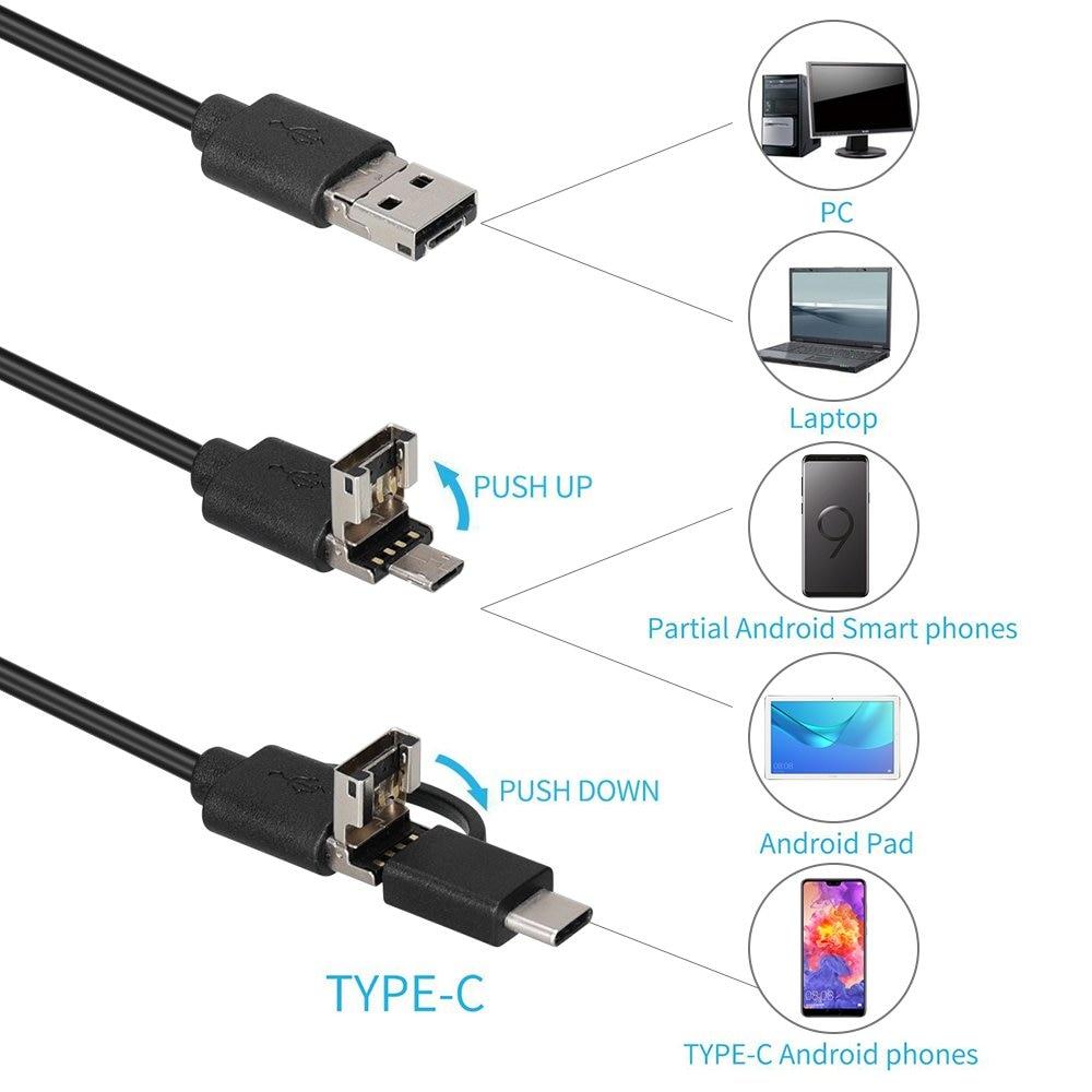8,0mm de la cámara del endoscopio 1080 P HD USB del endoscopio con 8 LED 1/2/5/10 M boroscopio de inspección impermeable de Cable Flexible para PC Android