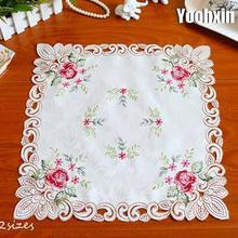 Роскошная Розовая атласная квадратная скатерть, коврик с вышивкой, кружевная скатерть для кухни, чайного и кофейного столика, рождественские, вечерние, домашний, Свадебный декор