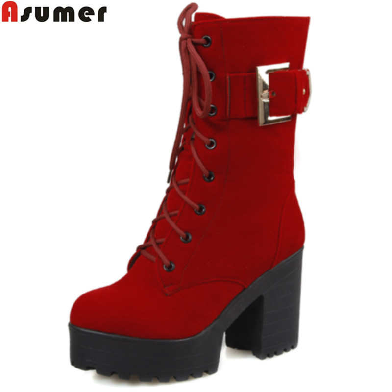 Asumer large size 33-43 winter women boots thick high heels round toe platform shoes solid buckle nubuck leather mid calf boots fashion women half knee high boots solid buckle metal round toe platform wedge shoes 3 colors large size 34 43