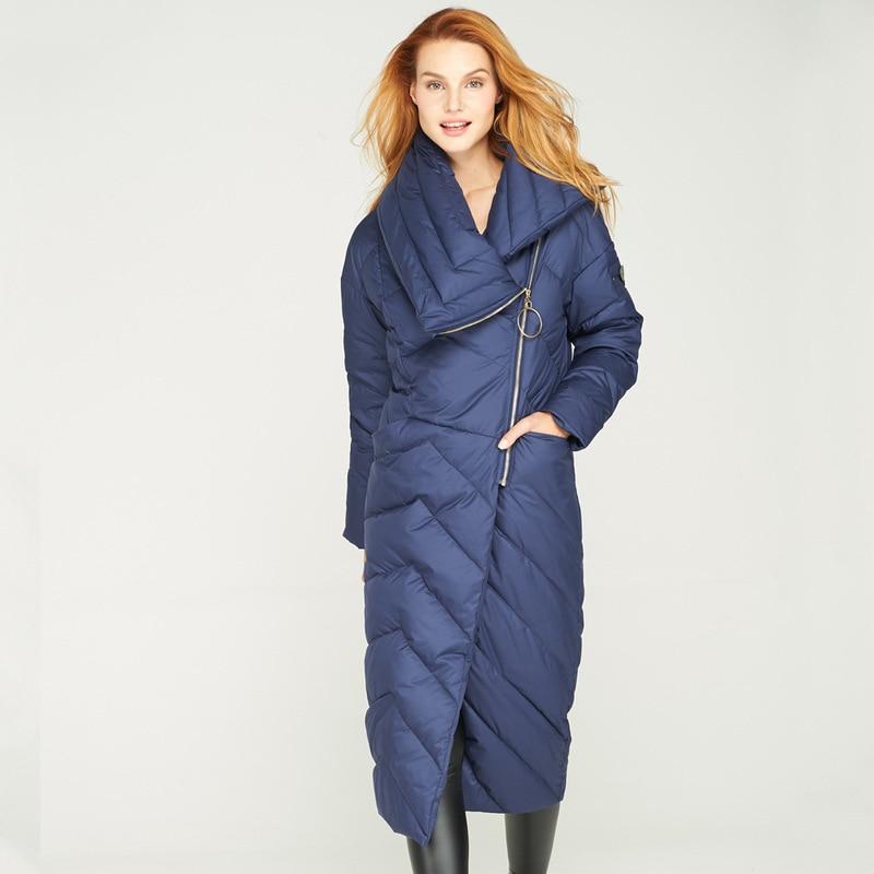 Womens Oblique Zipper Thick Warm Down Jackets Winter Fashion Long Down Parkas