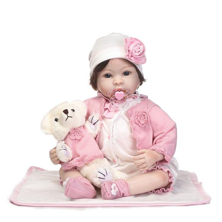 55 cm Silikon Reborn Baby Puppe Spielzeug Simulation 22 ''Vinyl Prinzessin Kleinkind Puppen Mit Bär Mädchen Geburtstagsgeschenk Mode präsentieren