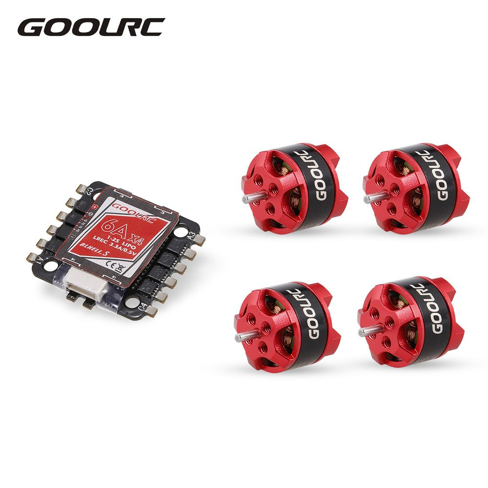GoolRC 4in 1 6A ESC BLHeli_S BEC Oneshot125 Multishot and D1104 7500KV Brushless Motor Kit for Racing Quadcopter RC Drone Part 4set lot universal rc quadcopter part kit 1045 propeller 1pair hp 30a brushless esc a2212 1000kv outrunner brushless motor