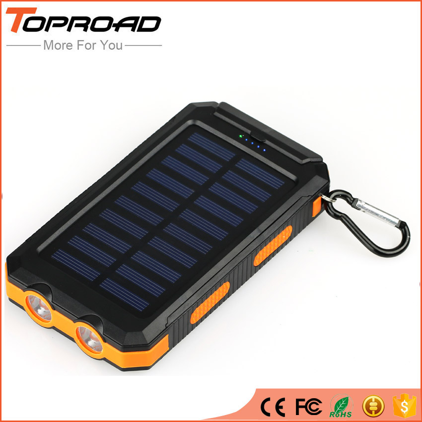 imágenes para Impermeable Solar Banco de la Energía 10000 MAH Dual USB LED SOS Teléfonos Móvil de La Batería Externa Powerbank Cargador Portátil Para Acampar