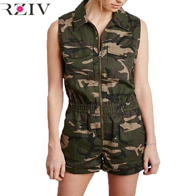 2016 Военный стиль камуфляж печати ползунки женщины комбинезон повседневная мода талии рукавов комбинезон шорты