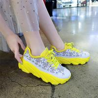 2019 Spring and Summer of Women Shoe Ventilation Net Surface Hollow Flat with Increased Leisure Rhinestone Fashion Sneakers