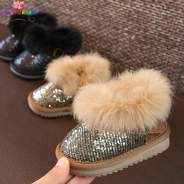 fd8ced9e5453 POSH DREAM Gold Sequins Winter Baby Girls Snow Boots Winter Snow Boots 2018  New Princess Fashion Bling Baby Toddler Girls Boots