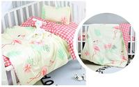 New Arrive Flamingo Baby Bedding Set Bumpers Cotton Pattern Baby Bed Set Crib Quilt ,Duvet/Sheet/Pillow, with filling
