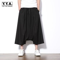 Mens Gothic Low Drop Crtoch Harem Pants Elastic Waist Baggy Wide Leg Pants Man Casual High Streetwear Plus Size Loose Trousers