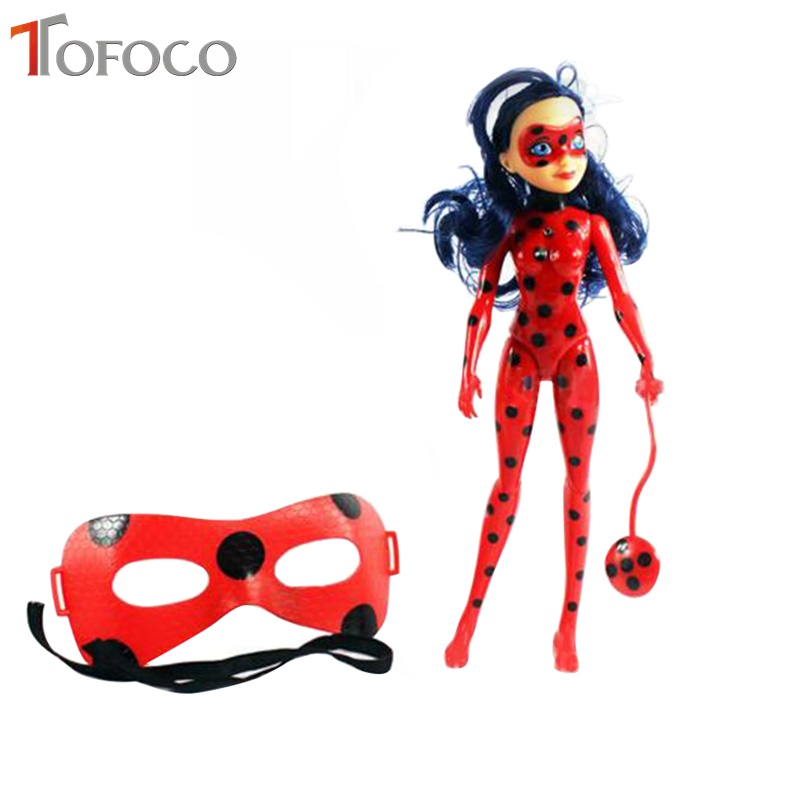 TOFOCO New 27CM Light Music Miraculous Ladybug And Cat Toy Lady Bug Doll With Mask Cosplay Birthday Gifts Toys For Children a toy a dream latex mask toy tyrannosaurus rex triceratops mask cosplay carnival dinosaur mask halloween toys props model toys