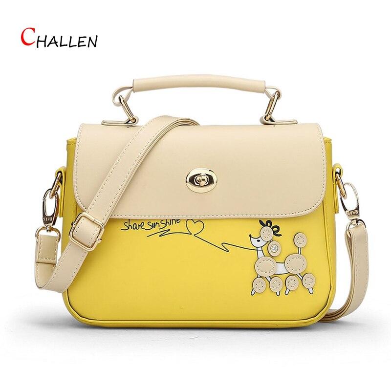 2016 Fashion Blue Flap Women Shoulder Bag High Quality Pu Leather Crossbody Messenger Bag Fresh Handbag Mini Character Tote y690
