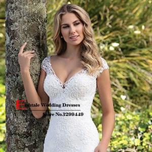 Image 5 - Eightale Boho Wedding Dress Appliques Lace Wedding Gown Custom made Spadex Chiffon Cap Sleeves V Neck Mermaid Bridal Dresses