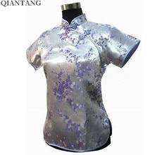 Hot Sale Light Purple Traditional Chinese Women's Shirt Tops