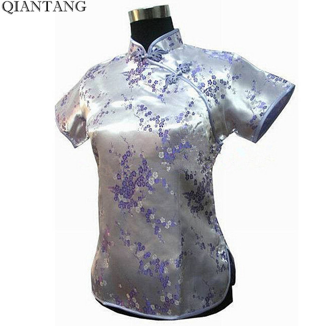 Hot Sale Light Purple Traditional Chinese Women's Shirt Tops Mujeres Camisa Summer Satin Blouse Flower Size S M L XL XXL A0030