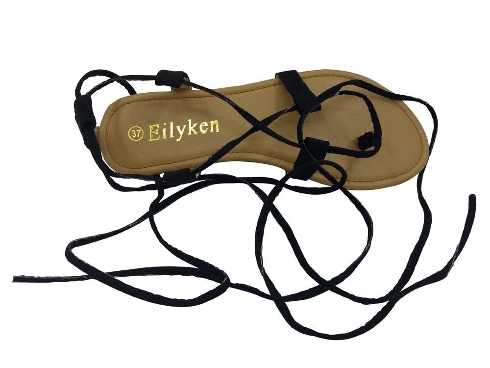 Eilyken Summer Roman Sandals Multiple Cross-Strap tall knee high Bondage Thong Nubuck Women Sandals Flip flops Black Apricot