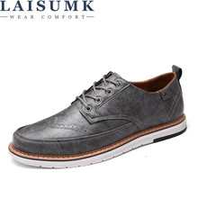 2019 LAISUMK Fashion Mens PU Leather Loafers Walking Shoes Black Men Casual For Flats
