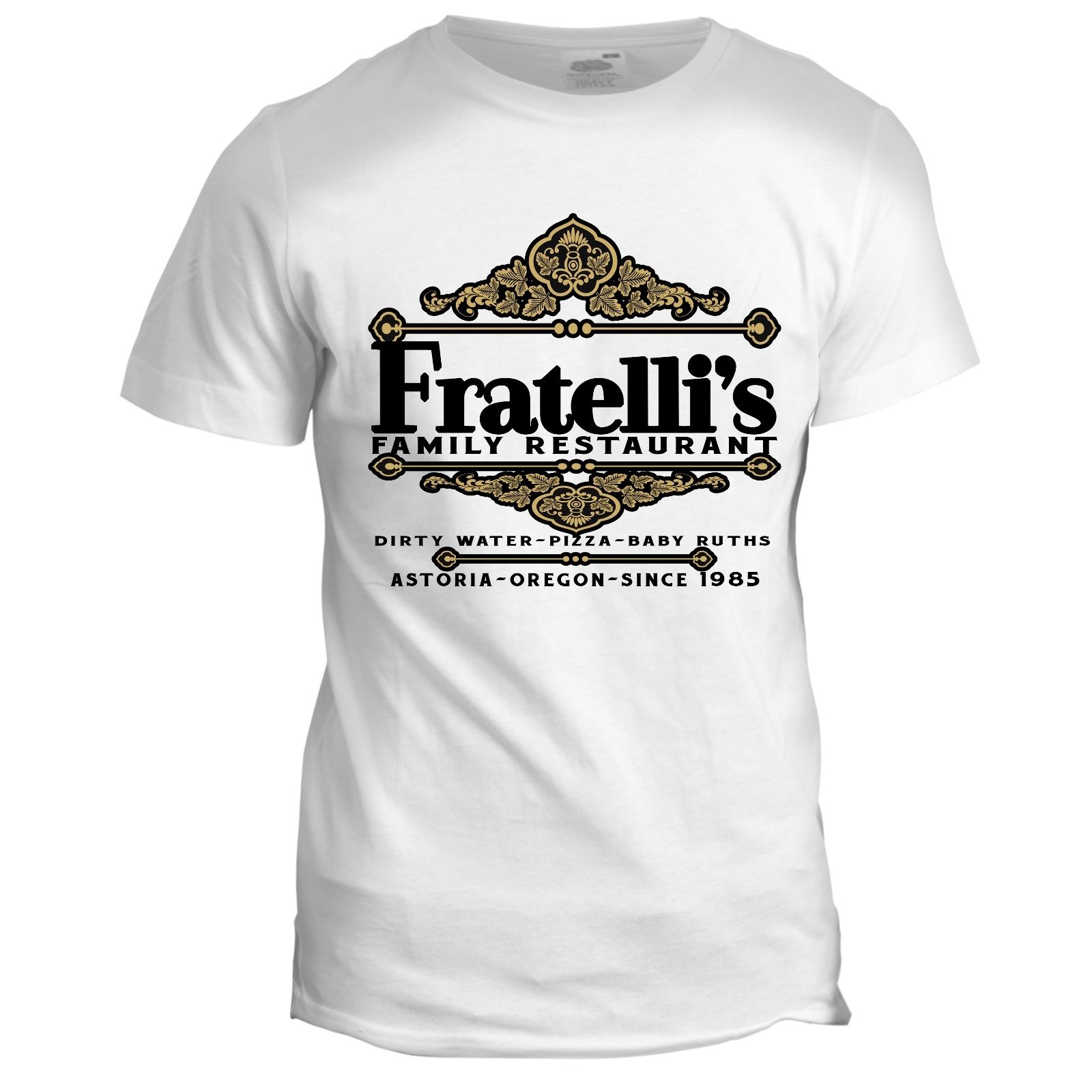 Fratelli's Restaurant Inspired The Goonies 80s Retro Italian Movie Film Printed T Shirt Men Cotton T-Shirt New Style image
