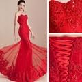 2016 vestido de noiva vestido de noiva sereia rabo de peixe vermelho oriental estilo lace-up strapless magro sexy elegante do laço do vintage