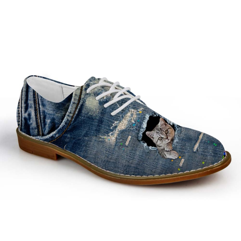 Noisydesigns Boys Oxford Shoe Denim Color cute little animal Print - Men's Shoes - Photo 4